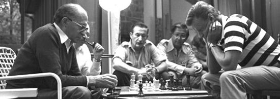 Zbigniew Brzrzinski and Menachem Begin plays chess at Camp David