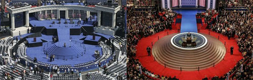 Bush Obama Convention Stages